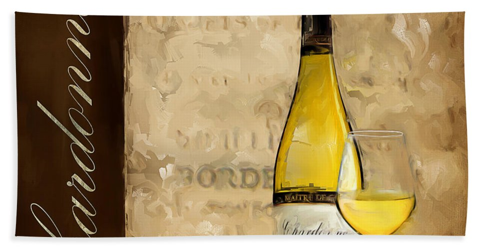 Wine Hand Towel featuring the painting Chardonnay IIi by Lourry Legarde