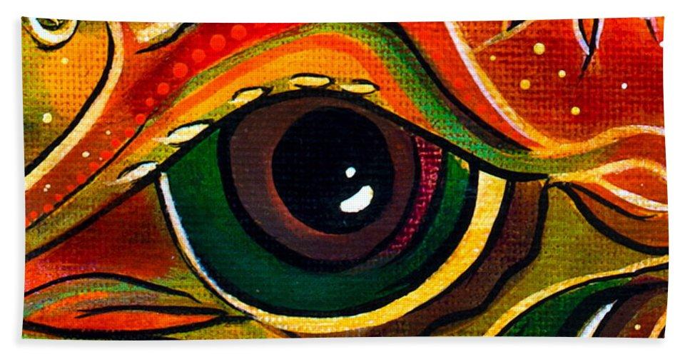 Deborha Kerr Bath Sheet featuring the painting Charismatic Spirit Eye by Deborha Kerr