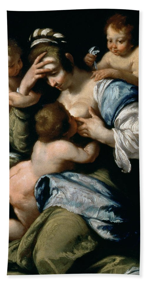 Suckling Hand Towel featuring the painting Charity by Bernardo Strozzi