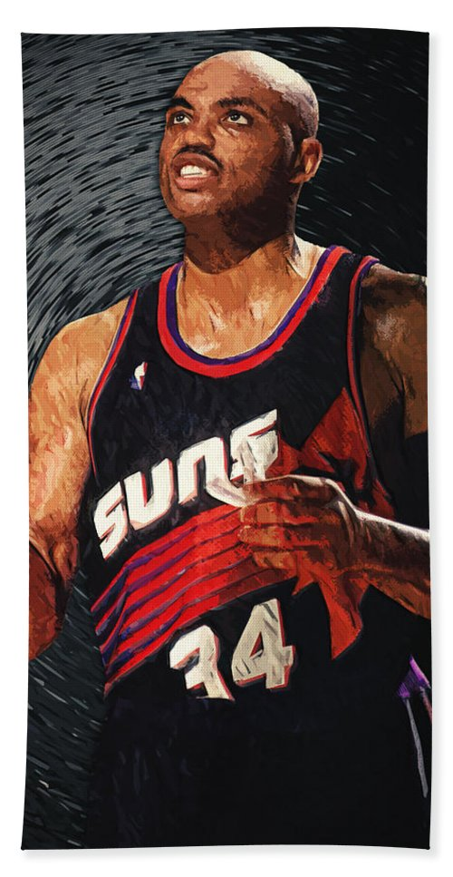 Charles Barkley Hand Towel featuring the digital art Charles Barkley by Zapista OU