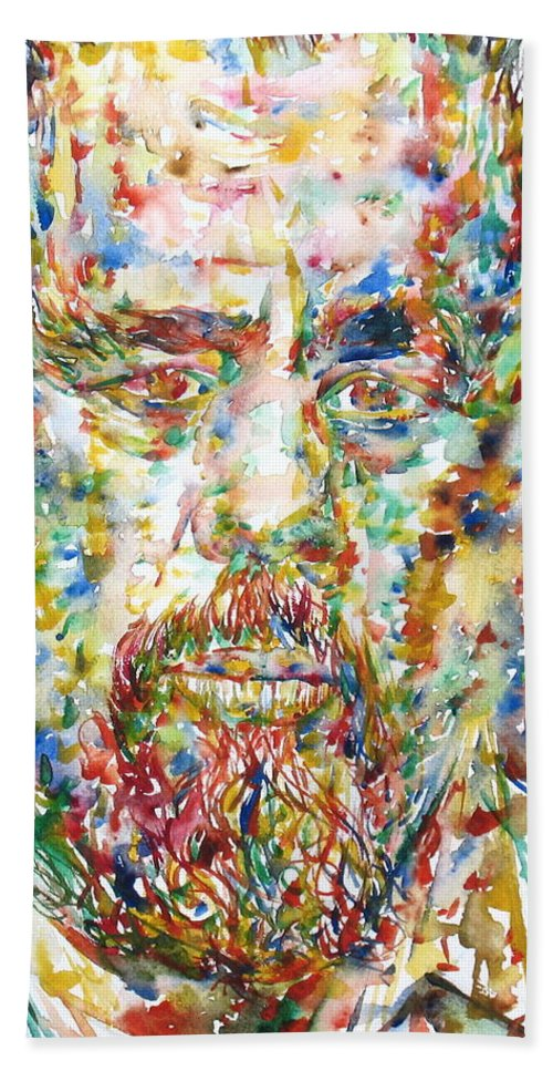 Charles Bath Sheet featuring the painting Charles Mingus Watercolor Portrait by Fabrizio Cassetta