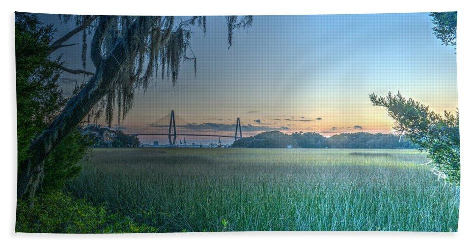 Arthur Ravenel Bridge Hand Towel featuring the photograph Charleston Bridge View by Dale Powell