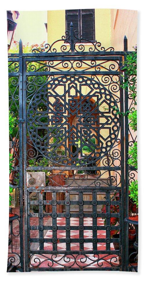 Charleston Hand Towel featuring the photograph Charleston Gate Charleston Sc by William Dey