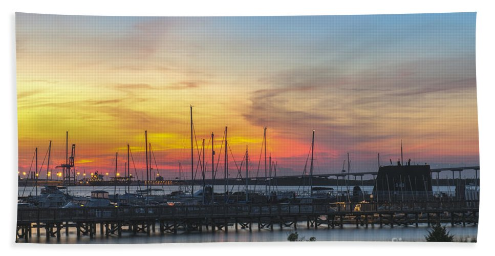 Sunset Bath Sheet featuring the photograph Charleston Harbor Sunset by Dale Powell