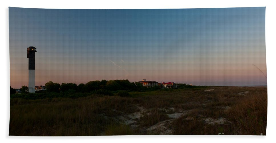 Sullivan's Island Lighthouse Bath Sheet featuring the photograph Charleston Lighthouse by Dale Powell