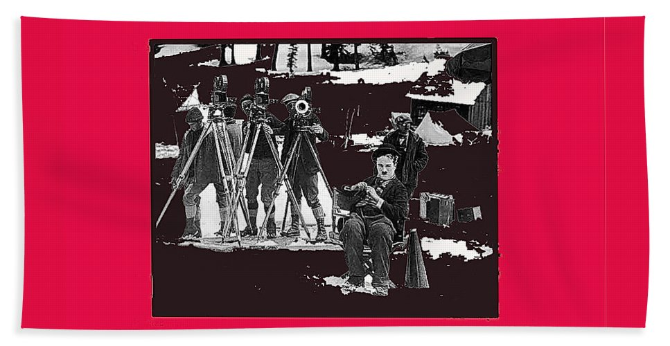 Charlie Chaplin On Location With His Camera Crew Shooting The Gold Rush 1925 Hand Towel featuring the photograph Charlie Chaplin On Location With His Camera Crew Shooting The Gold Rush 1925-2009 by David Lee Guss