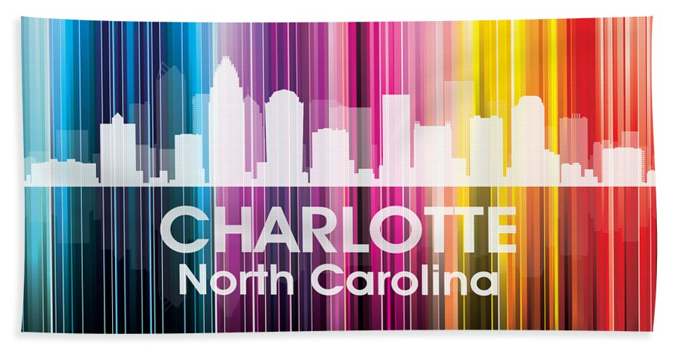 City Silhouette Hand Towel featuring the mixed media Charlotte Nc 2 by Angelina Vick