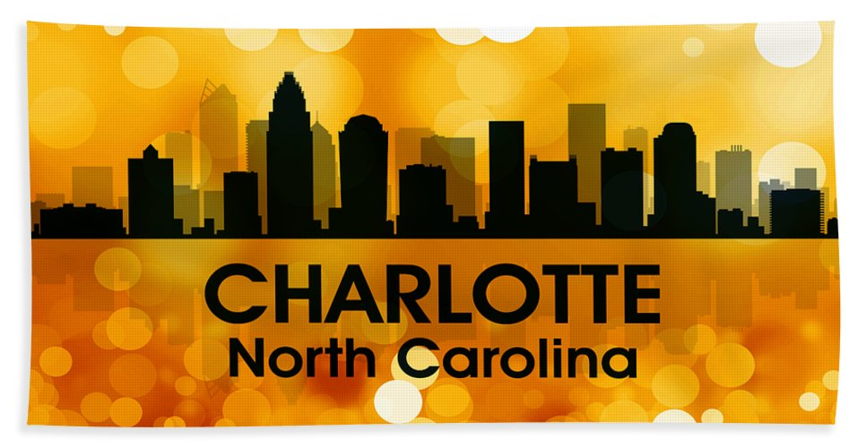 City Silhouette Hand Towel featuring the digital art Charlotte Nc 3 by Angelina Vick