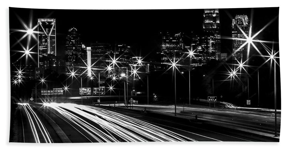 Charlotte Hand Towel featuring the photograph Charlotte Flow B/w by Chris Austin