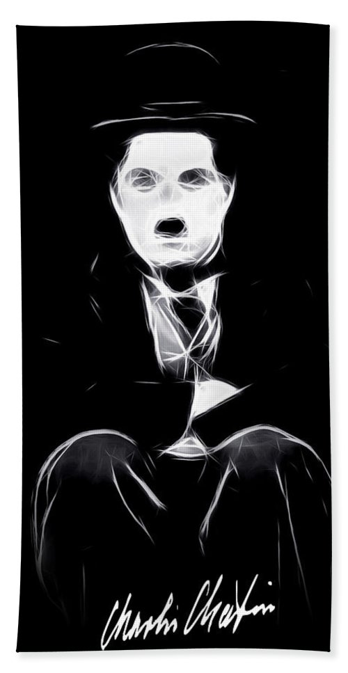 Tramp Charly Charles Spencer Chaplin Famous Actor Comedian Movie Symbol Icon Idol Black White Expressionism Abstract Hand Towel featuring the painting Charly The Tramp by Steve K