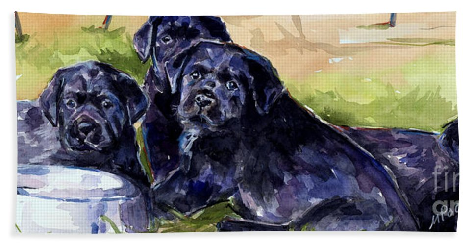 Lab Puppies Hand Towel featuring the painting Charm School by Molly Poole