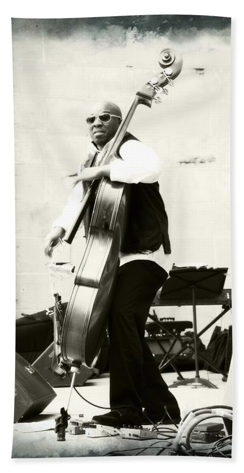 Charnett Moffett Musician Bassist Black White Filmstrip Border Hand Towel featuring the photograph Charnett On Film by Alice Gipson
