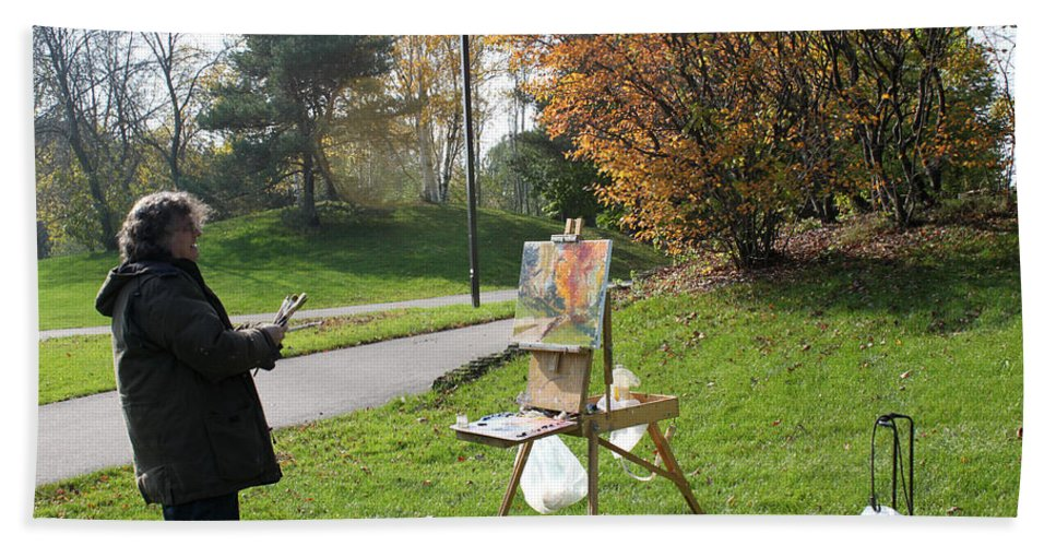 Outdoor Painting Hand Towel featuring the photograph Chasing The Autumn Colors by Ylli Haruni