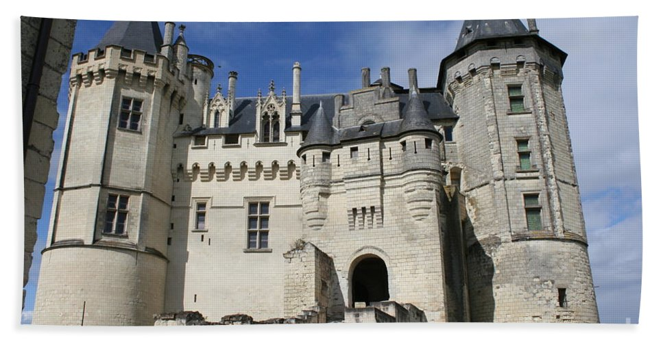 Castle Hand Towel featuring the photograph Chateau Saumur by Christiane Schulze Art And Photography