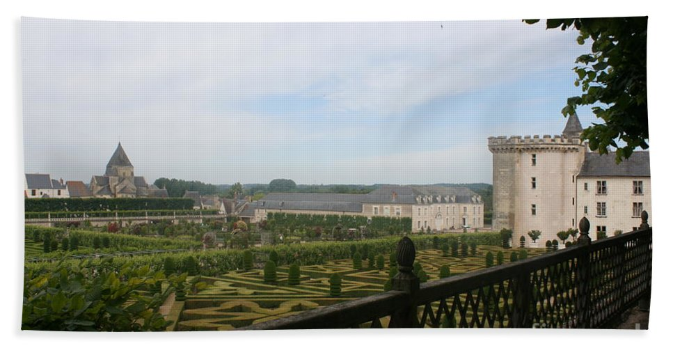 Garden Hand Towel featuring the photograph Chateau Vilandry And Garden View by Christiane Schulze Art And Photography
