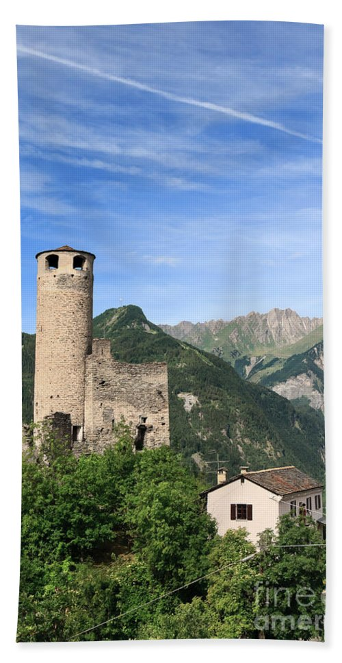 Alps Hand Towel featuring the photograph Chatelard Castle by Antonio Scarpi
