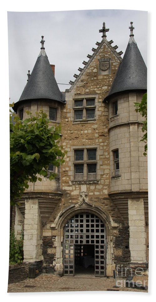 Castle Hand Towel featuring the photograph Chatelet - Chateau D'angers by Christiane Schulze Art And Photography