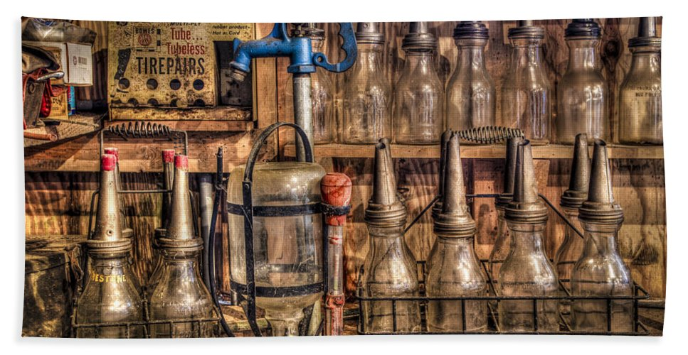 Car Bath Sheet featuring the photograph Check Your Oil by Debra and Dave Vanderlaan