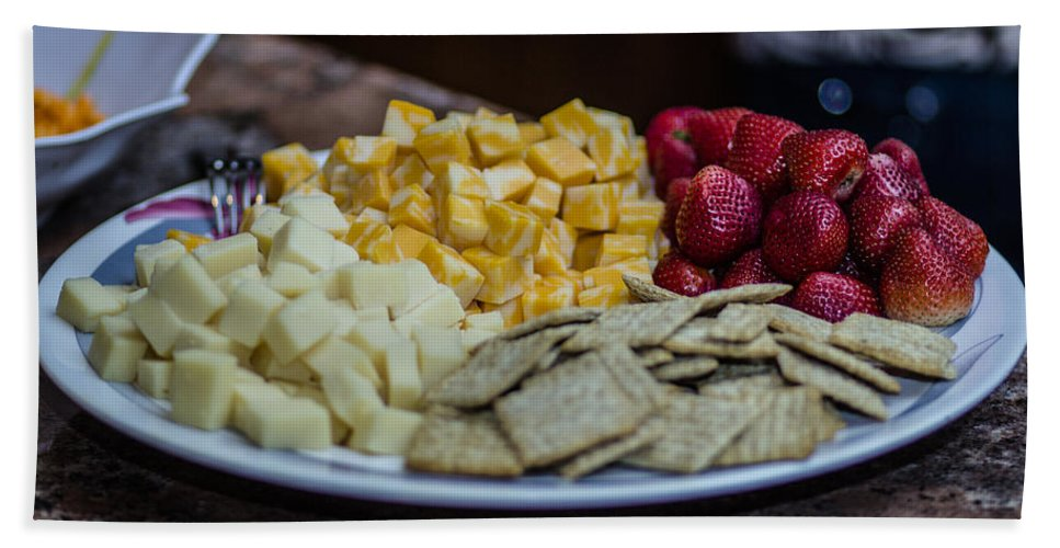 Cheese Bath Sheet featuring the photograph Cheese And Strawberries by Stephen Brown