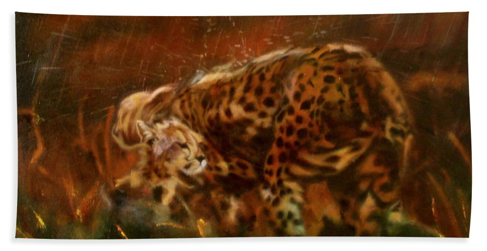 Rain;water;cats;africa;wildlife;animals;mother;shelter;brush;bush Bath Towel featuring the painting Cheetah Family After The Rains by Sean Connolly