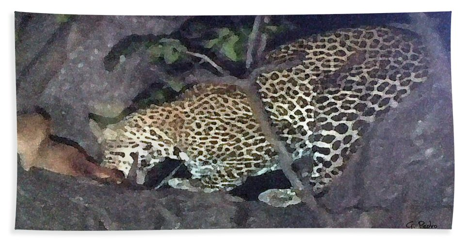 Africa Bath Sheet featuring the painting Cheetah Feeding In A Tree by George Pedro
