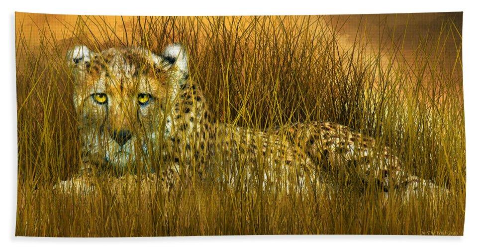 Cheetah Bath Sheet featuring the mixed media Cheetah - In The Wild Grass by Carol Cavalaris