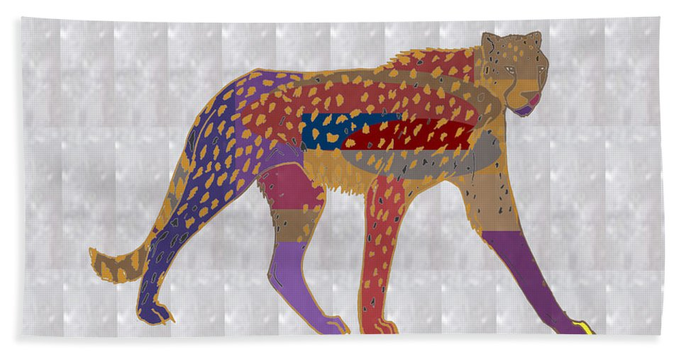 Cheetah Leopardbirthday Hand Towel featuring the painting Cheetah Showcasing Navinjoshi Gallery Art Icons Buy Faa Products Or Download For Self Printing Navi by Navin Joshi