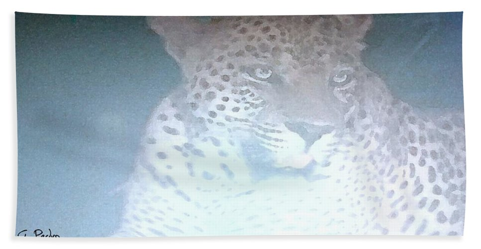 Africa Bath Sheet featuring the painting Cheetah Visits The Camp At Night by George Pedro