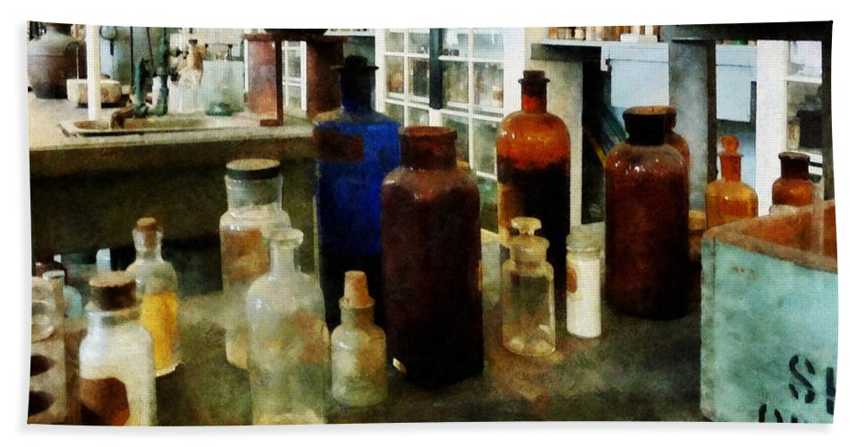 Science Bath Sheet featuring the photograph Chemistry - Assorted Chemicals In Bottles by Susan Savad