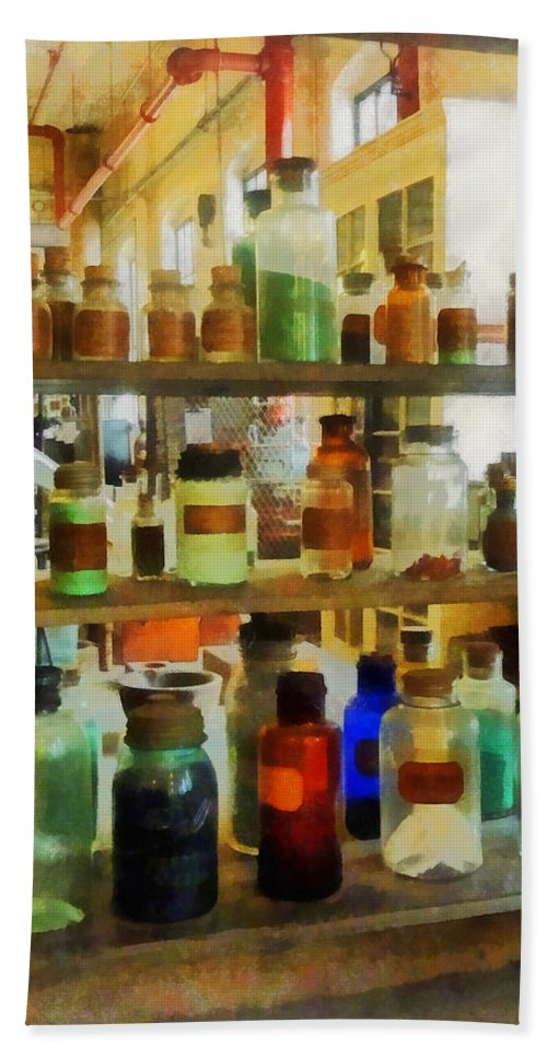 Science Hand Towel featuring the photograph Chemistry - Bottles Of Chemicals Green And Brown by Susan Savad