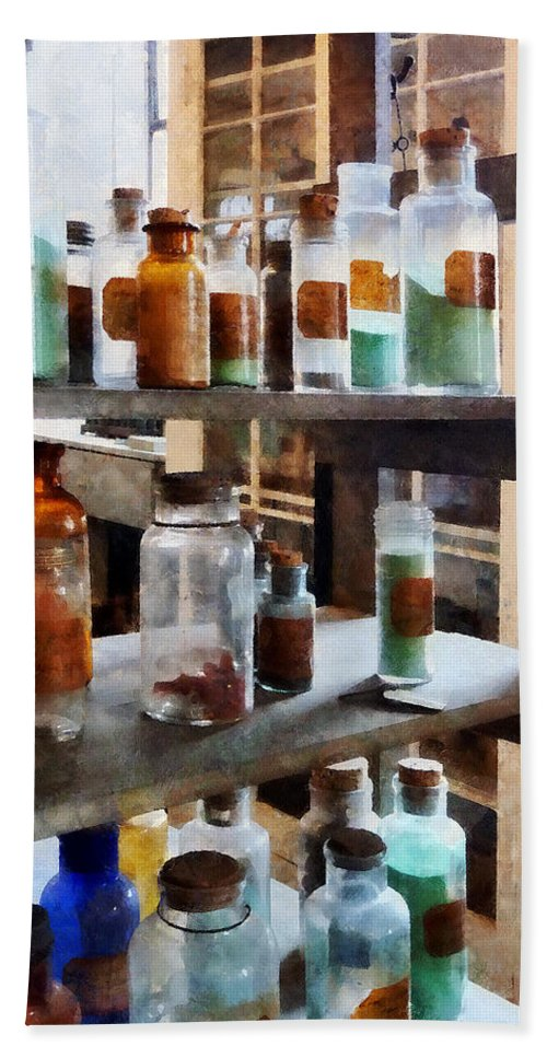 Science Bath Sheet featuring the photograph Chemistry - Bottles Of Chemicals by Susan Savad