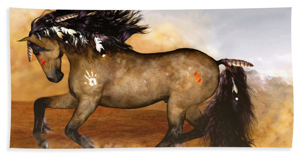Horse Hand Towel featuring the painting Cherokee by Valerie Anne Kelly
