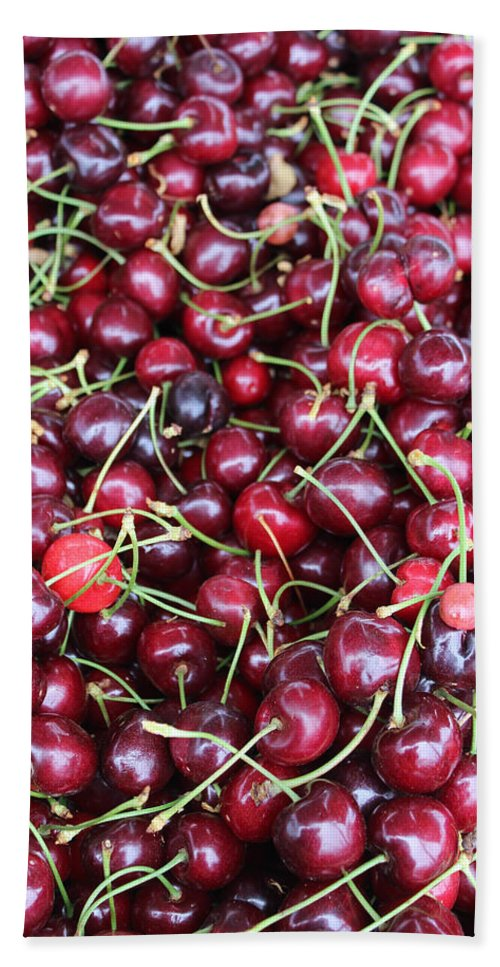 Cherries Bath Sheet featuring the photograph Cherries In Des Moines Washington by Cathy Anderson