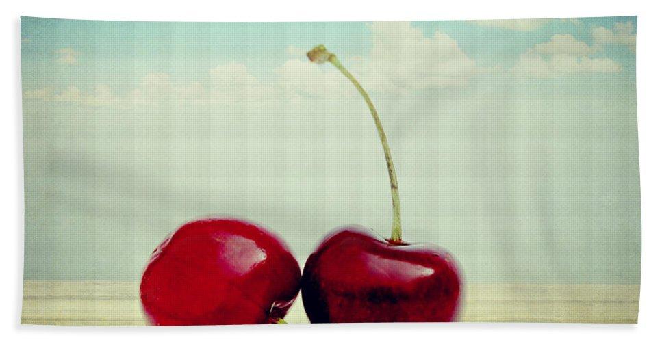 Cherries Bath Sheet featuring the photograph Cherries Love by Heike Hultsch