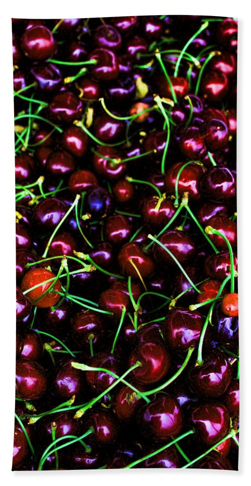 Cherries Bath Sheet featuring the photograph Cherries With A Touch Of Neon Des Moines Washington by Cathy Anderson