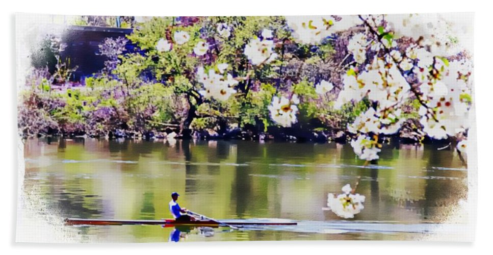 Rower Hand Towel featuring the photograph Cherry Blossom Rower by Alice Gipson