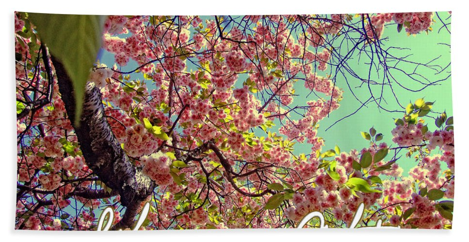 Quotes Hand Towel featuring the photograph Cherry Blossoms And A Life Quote by Nishanth Gopinathan