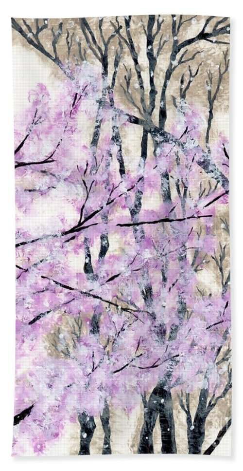 Cherry Bath Sheet featuring the painting Cherry Blossoms In Spring Snow by Anne Clark
