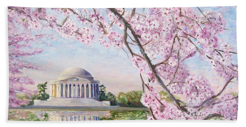 Jefferson Memorial Hand Towel featuring the painting Jefferson Memorial Cherry Blossoms by Patty Kay Hall