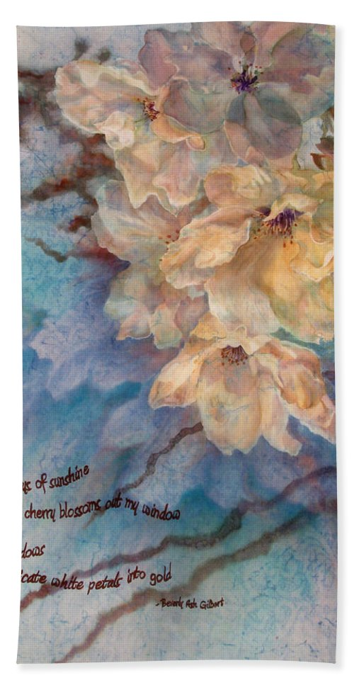 Flower Bath Sheet featuring the painting Cherry Blossoms N Lace by Deborah Younglao