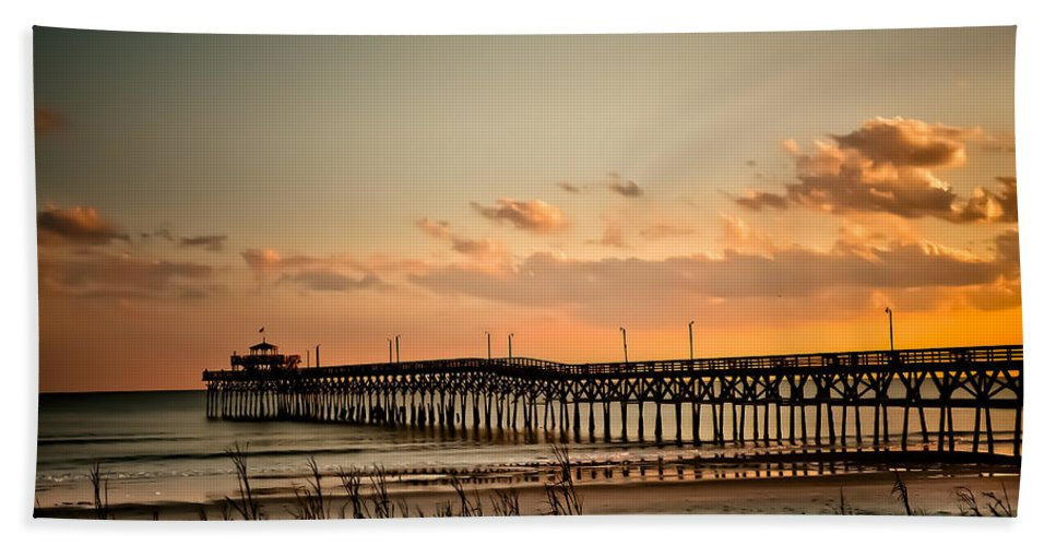 Cherry Grove Bath Sheet featuring the photograph Cherry Grove Pier Myrtle Beach Sc by Trish Tritz