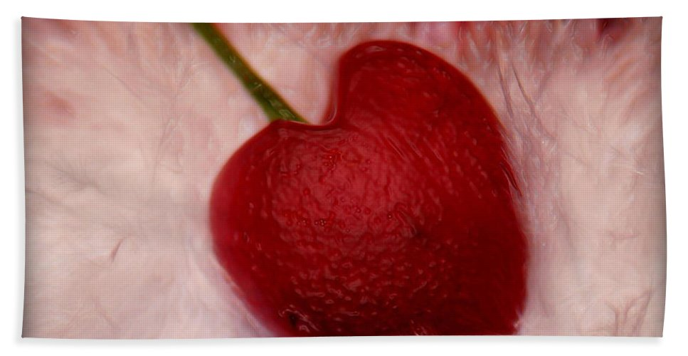 Heart Artred Cherry Heart Hand Towel featuring the photograph Cherry Heart by Linda Sannuti