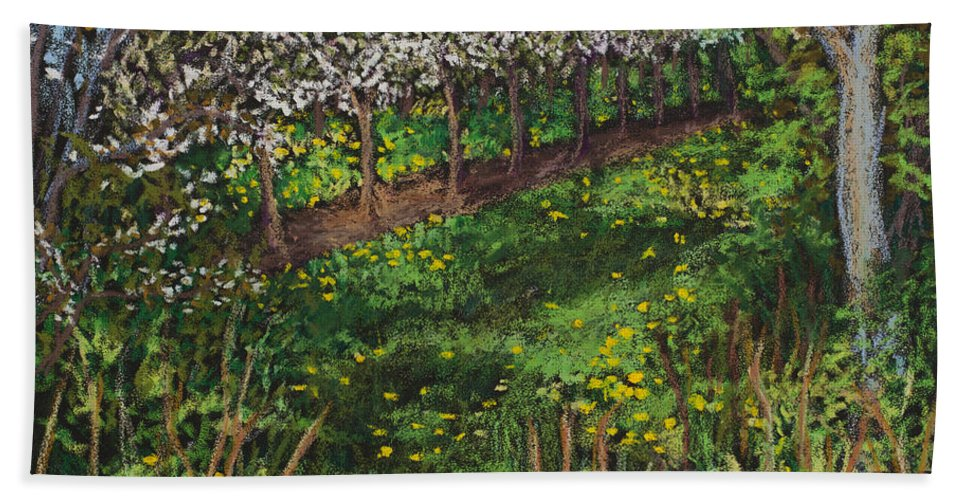 Door County Hand Towel featuring the painting Cherry Orchard Evening by Madonna Siles