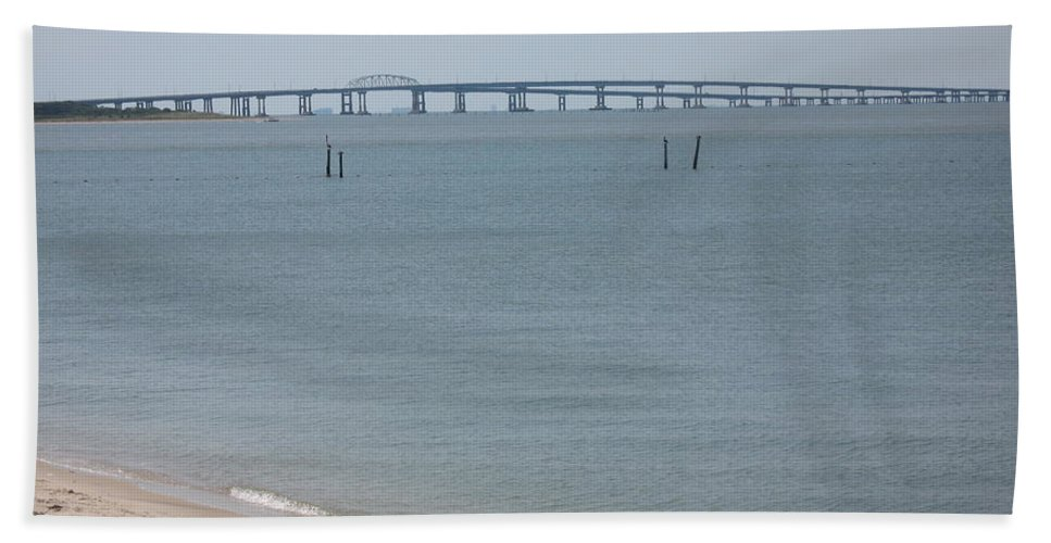 Bay Bath Sheet featuring the photograph Chesapeake Bay Bridge - Tunnel by Christiane Schulze Art And Photography