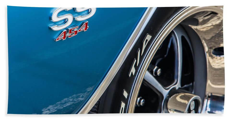 454 Bath Sheet featuring the photograph Chevelle Ss 454 Badge by Jerry Fornarotto