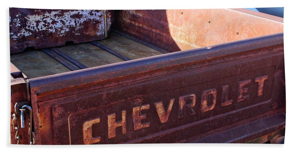 Chevrolet Apache 31 Pickup Truck Tail Gate Emblem Bath Sheet featuring the photograph Chevrolet Apache 31 Pickup Truck Tail Gate Emblem by Jill Reger