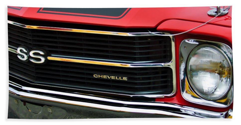 Chevrolet Chevelle Ss Bath Sheet featuring the photograph Chevrolet Chevelle Ss Grille Emblem by Jill Reger