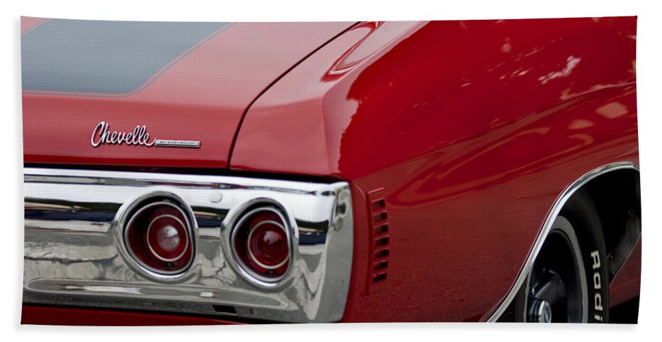 Chevrolet Chevelle Ss Bath Sheet featuring the photograph Chevrolet Chevelle Ss Taillight Emblem 3 by Jill Reger
