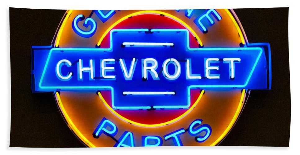 Chevrolet Neon Sign Hand Towel featuring the photograph Chevrolet Neon Sign by Jill Reger