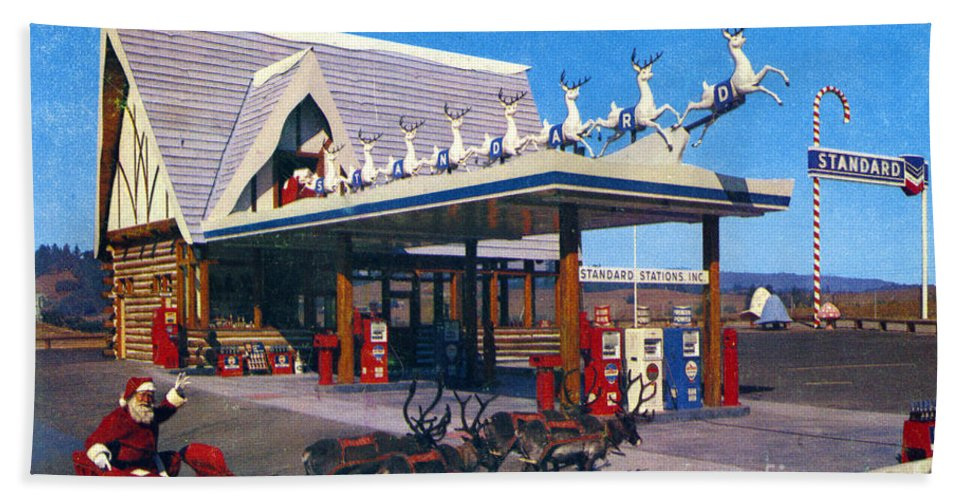 Chevron Gas Station At Santa's Village Bath Sheet featuring the photograph Chevron Gas Station At Santa's Village With Reindeer And Carl Hansen by California Views Archives Mr Pat Hathaway Archives